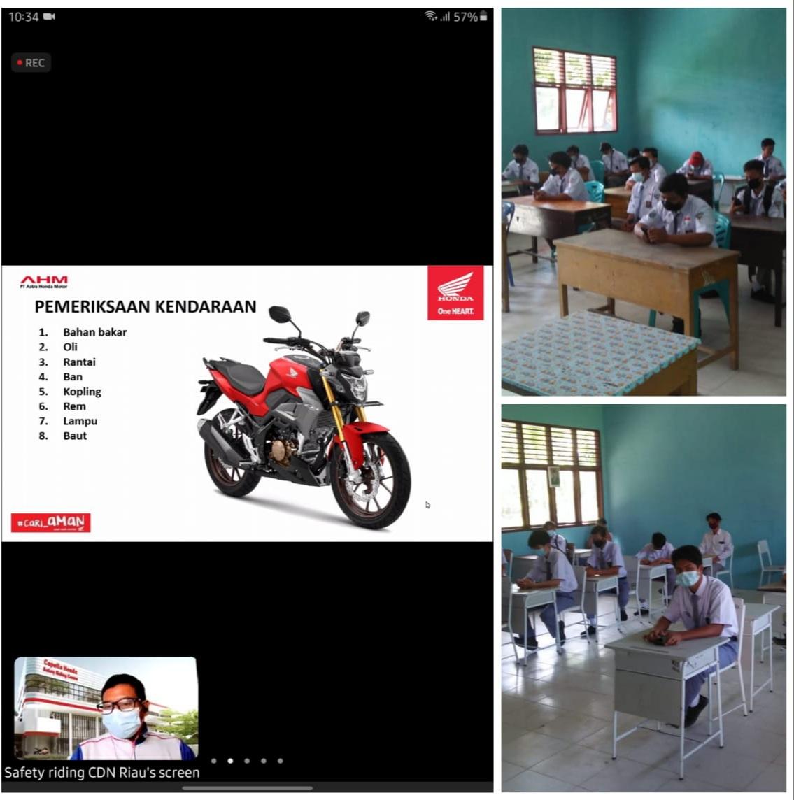 PT CDN Riau Webinar Ilmu Keselamatan Berkendara Murid SMKN 4 Dumai