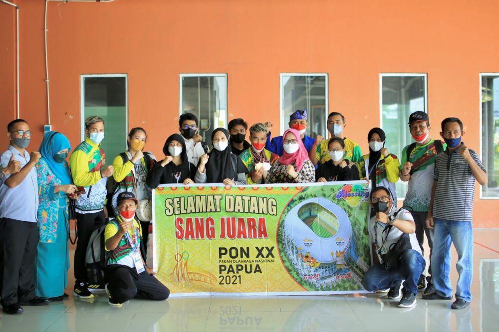 Atlet Senam Riau Tiba di Pekanbaru, Bawa Tiga Emas